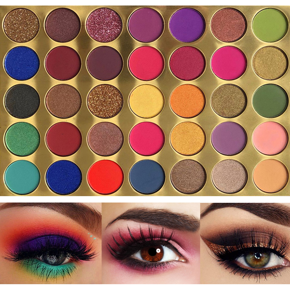 35 Bright Colorful Matte Eyeshadow Palette Shimmery Silky Powder Long Lasting Pigments Pressed Glitter Eye Shadow Pallete Makeup