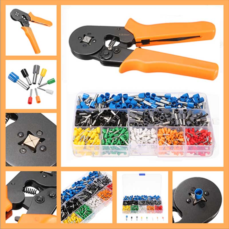 800pcs Electrical Crimp Connector Terminal Kit Set with Ratcheting Ferrule Crimping Plier Tool For End Sleeves 100pcs 16awg bootlace cooper ferrules kit set wire copper crimp connector insulated cord pin end terminal en1508