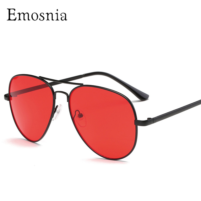 988faa73392 Emosnia Vintage Red Samll Pilot Sunglasses Women Retro 2018 Metal Frame  Yellow Red Lens Round Vintage