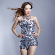 Fashion female singer ds costume costumes dj tube top rhinestone one piece jazz dance clothes