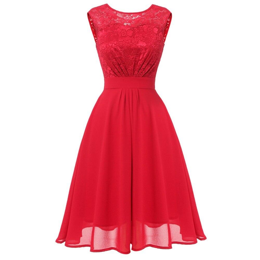 de2766a0ab04 Vintage Red Lace Midi Dress Women Elegant Office Lady Hollow Mesh Pink  Fairy Prom Evening Waist