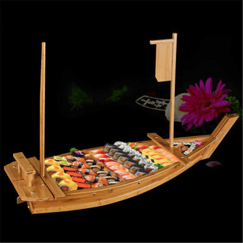Japanese Cuisine Sushi Boats Sushi Tools Wooden Ship Model Wood Handmade Simple Ship Sashimi Assorted Cold Dishes Tableware Bar