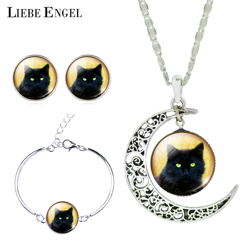 LIEBE ENGEL Glass Jewelry Sets Moon Pendant Necklace Stud Earrings Bangles Bracelets Black Cat Picture Silver Color Jewelry 2017