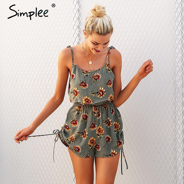 67671f821292 Simplee Casual floral print strap ruffles playsuits Two piece rompers women  High waist drawstrings 2018 summer