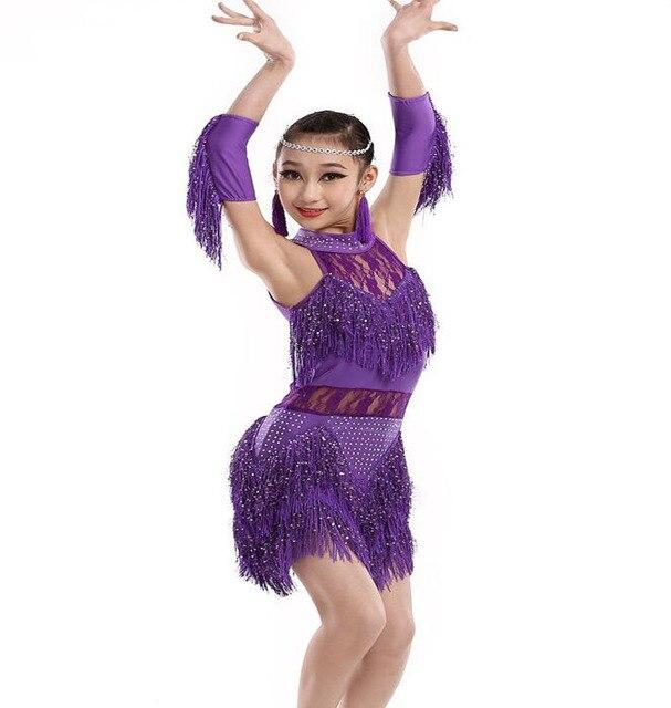 e54276e74f7dc8 3-15Y Kind Steentjes Fringe Satge Show Dance Kostuum Kant Latin Dans Jurk  Kwastje Ballroom