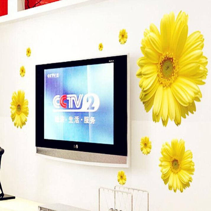 neue ankunft diy dekoration wandkunst aufkleber stilvolle gelbe blume wandaufkleber steuern dekor fr wohnzimmer schlafzimmer tv - Gelbe Dekowand Blume Fr Wohnzimmer