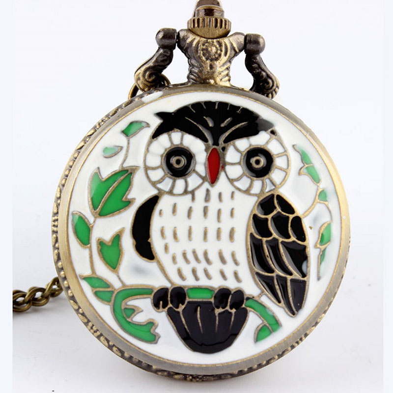 2020  Bronze Vintage 4 Colors Lovely Night Owl Quartz Pocket Watch Necklace Pendant Chain Children Men Women Gift