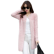 100pcs Women Long Cardigan Autumn Winter Bead Pearl Long Knitted Outwear Long-Sleeve Casual Loose Female Sweater Cardigan