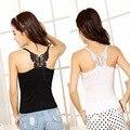 2016 newest 1 pc Sexy Women Lady Lace Strap Sleeveless Shirt Vnewest Blouse Tank Black White-J117
