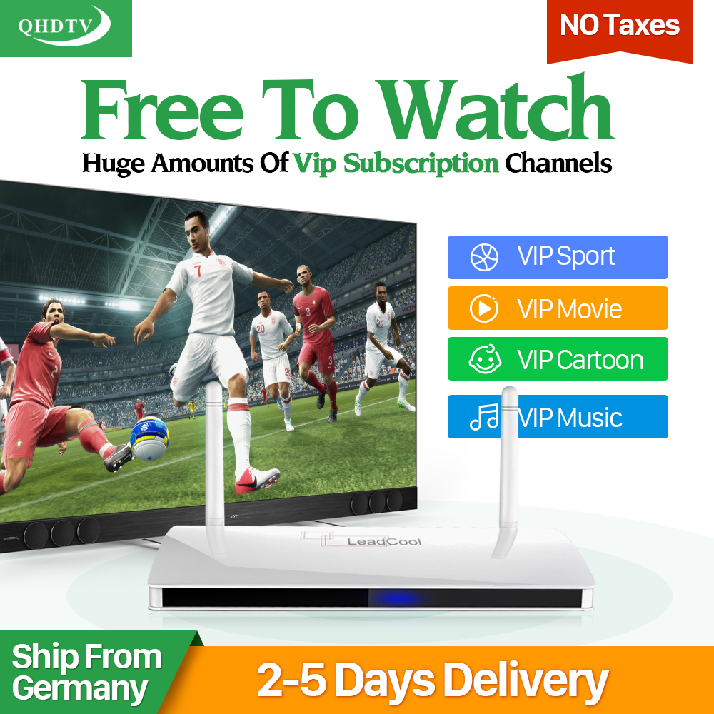 Leadcool Smart IPTV stb Android tv Box Media Player With Arabic French 1300+Europe IPTV Subscription 1 year Italia TV Receivers gotit cs918 android 4 4 tv box with 1year arabic royal iptv europe africa latino american iptv rk3128 media player smart tv box