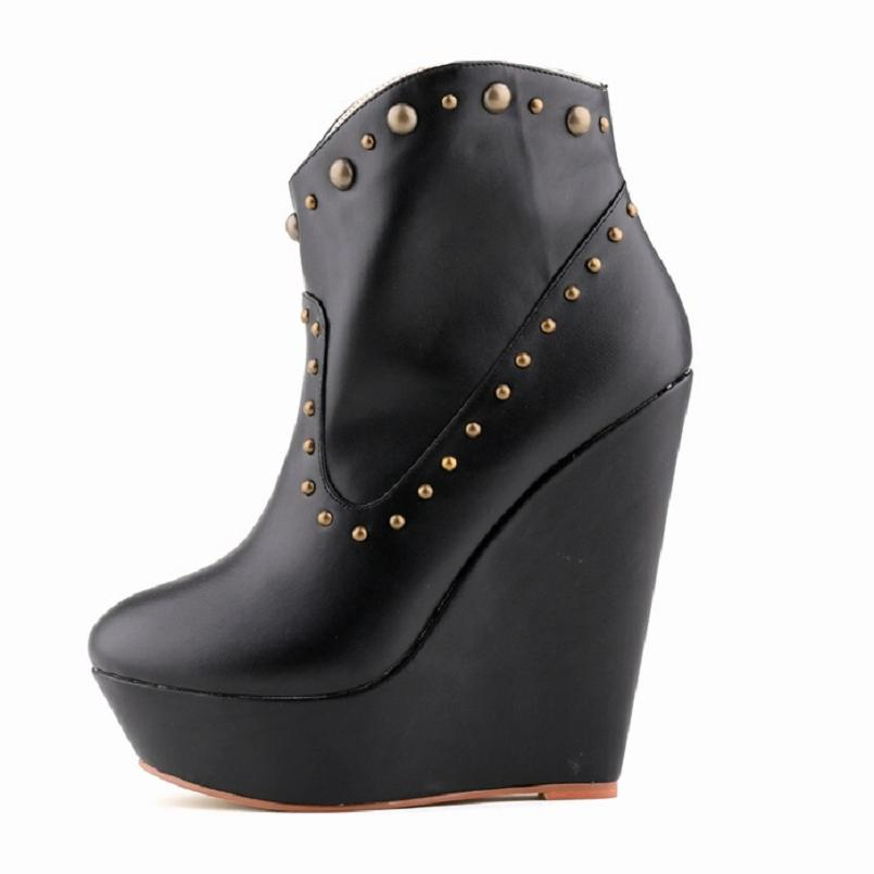 10 multi color candy women ankle boots autumn winter platform wedge creepers leather rivets studs punk booties plus size 35-42