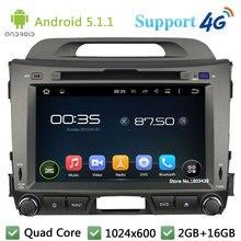 Quad Core 8″ 1024*600 2DIN Android 5.1.1 Car Multimedia DVD Player Radio FM DAB+ 3G/4G WIFI GPS Map For KIA SPORTAGE R 2010-2015