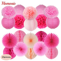 Paper Lantern Set Round Honeycomb Ball For Wedding Holiday Party Supplies Decoration DIY Hand Craft Decoration