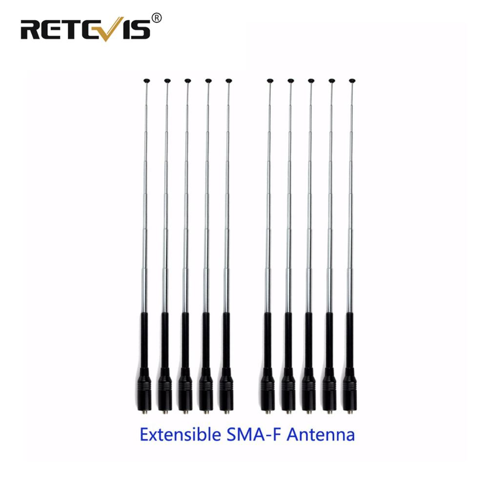 10pcs Walkie Talkie Antenna Retevis RT-773 SMA-F VHF UHF Telescopic Antenna For Baofeng UV-5R 888S Retevis H777 RT5R Ailunce HD1