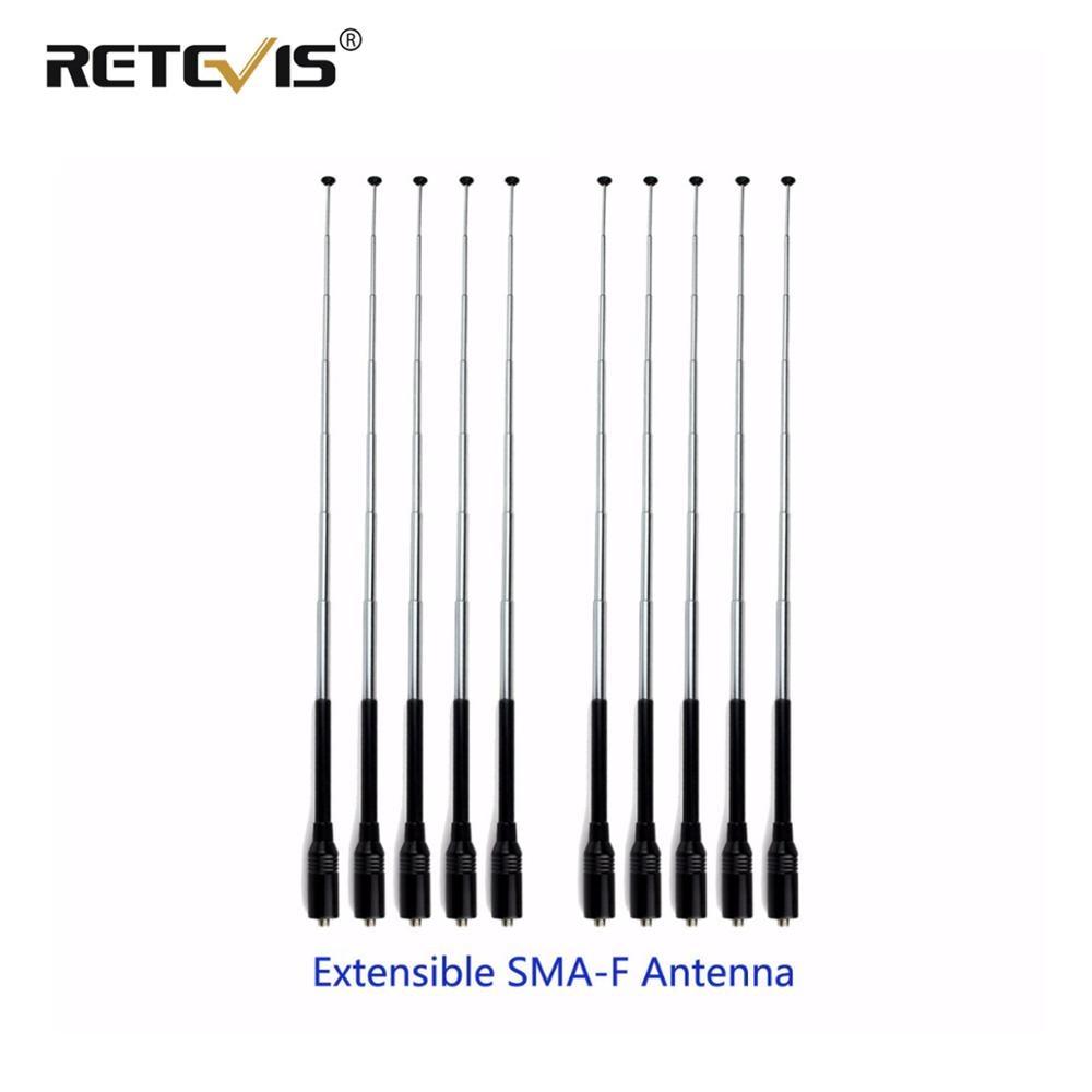 10pcs Walkie Talkie Antenna Retevis RT-773 SMA-F VHF UHF Telescopic Antenna For Baofeng UV-5R 888S Retevis H777 RT5R Ailunce HD1