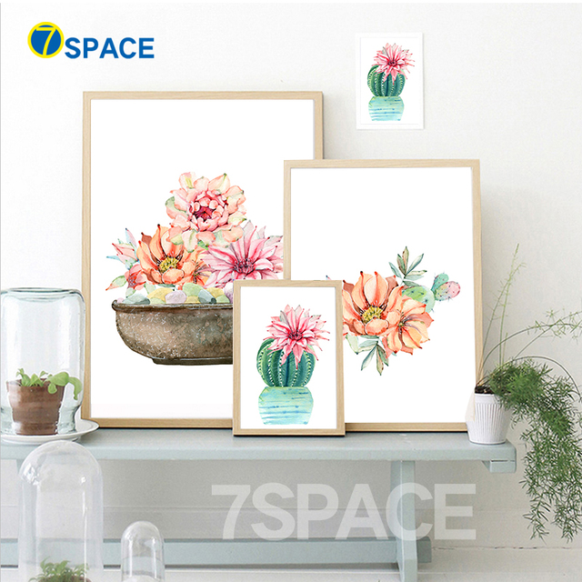 7 Space Modern Cactus Flower Canvas Painting Watercolor Wall Art