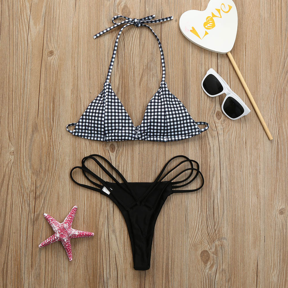 Womail 2018 Womens Plaid Swimwear Sexy thong Bikini Set Push Up Padded Bra Swiming suit maio feminino praia Swimsuit #N1802