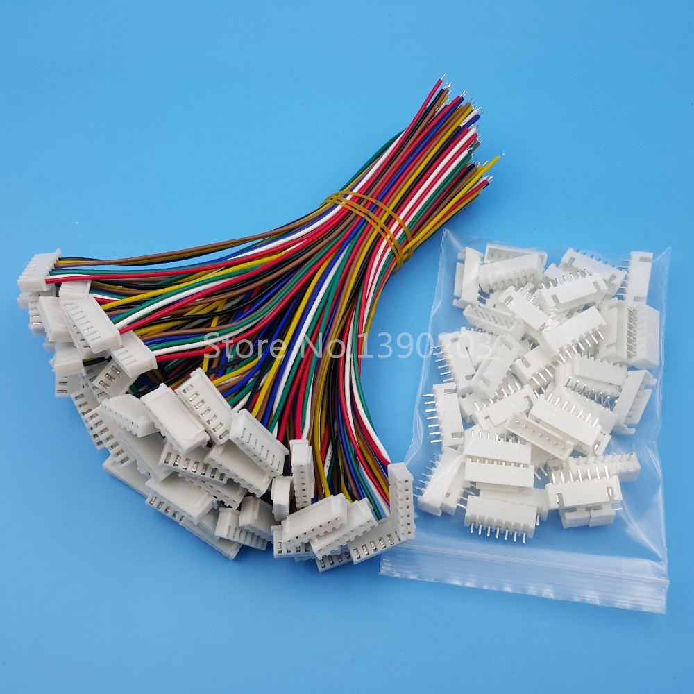50Sets XH Pitch 2.54mm 7Pin 7Wires Single-Head Wire To Board Connector 15cm 24AWG With Socket
