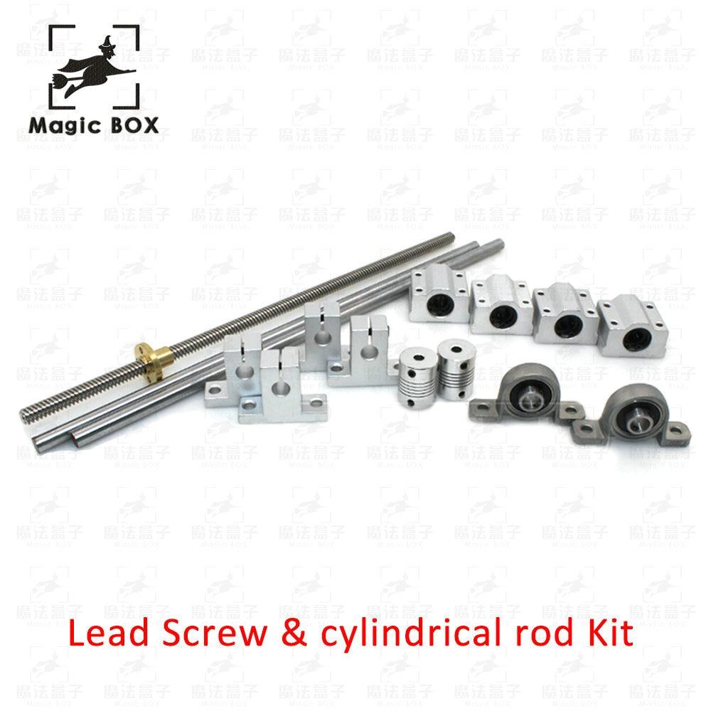 1set L300mm 330mm 400mm 500mm D8mm 8mm Horizontal Double Track Lead Screw Coupling Bearing & Linear Shaft Optical Axis Bearing l300mm 330mm 400mm 500mm d8mm 8mm horizontal double track lead screw coupling bearing