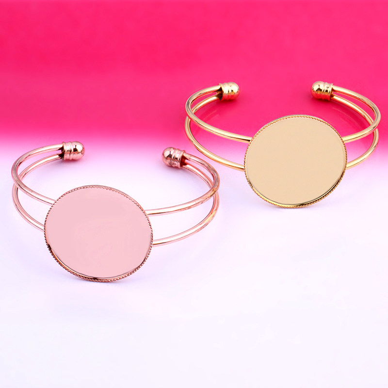 30mm Bracelet & Bangle Blank For Women Base Cabochon Settings Cameo Tray Diy Jewelry Making Accessories Silver Gold Color