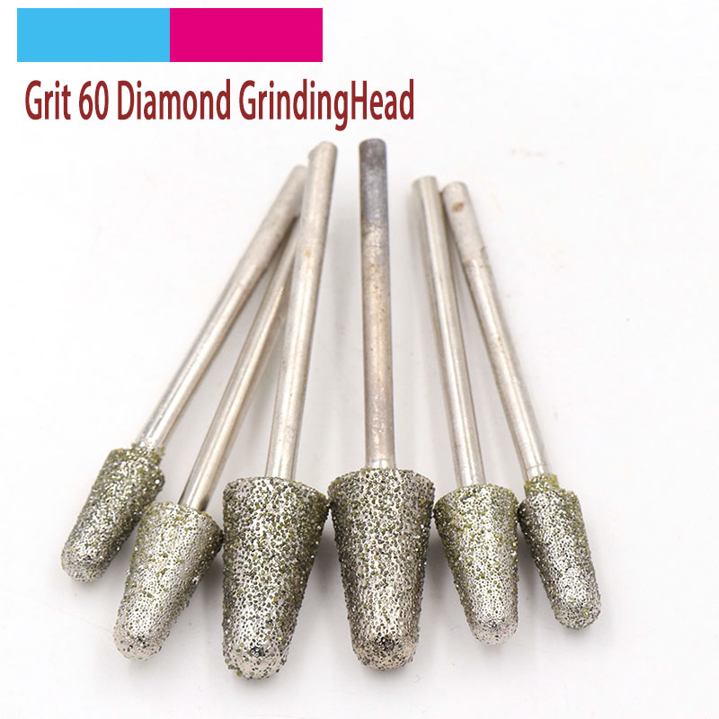 5pcs 3mm Shank Diamond Grinding Head Bullet Set Coated Mounted Bit Burr 60 Grit For Stone Dremel Rotary Tool Accessories