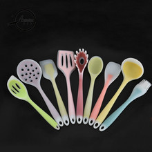 Atekuker 9Pcs/set Food Grade Silicone Cooking Tools For Kitchen Slotted Turner Scraper Spoon Ladle Oil Brush Cooking Utensil Set