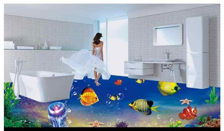 Papier peint de sol étanche photo personnalisée 3 d monde de poisson de mer papier peint 3d mural PVC papier peint auto-adhérence