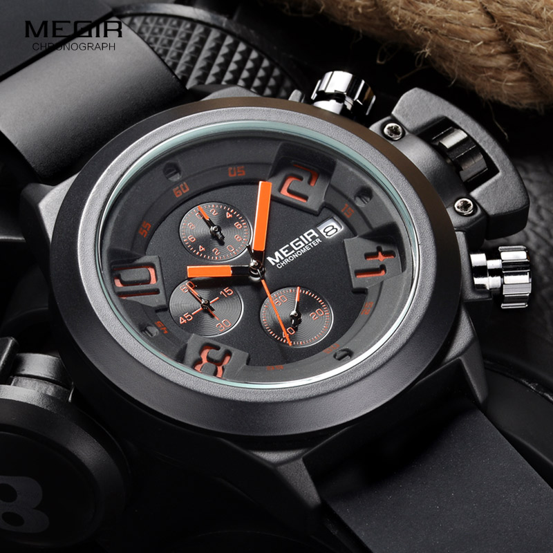 Megir Fashion Mens Silicone Band Sport Quartz Ձեռքի Ձեռքի ժամացույցներ Անալոգային Chronուցադրություն Chronograph Black Watch for Man with Calendar 2002