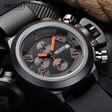 Megir relógio de pulso masculino, relógio de pulso de quartzo e silicone com pulseira analógica, cronógrafo, pulseira preta para homens com calendário 2002