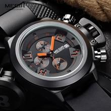 Megir Модные мужские Силиконовые Спортивные кварцевые наручные часы, аналоговый дисплей, хронограф, черные часы для мужчин с календарем 2002