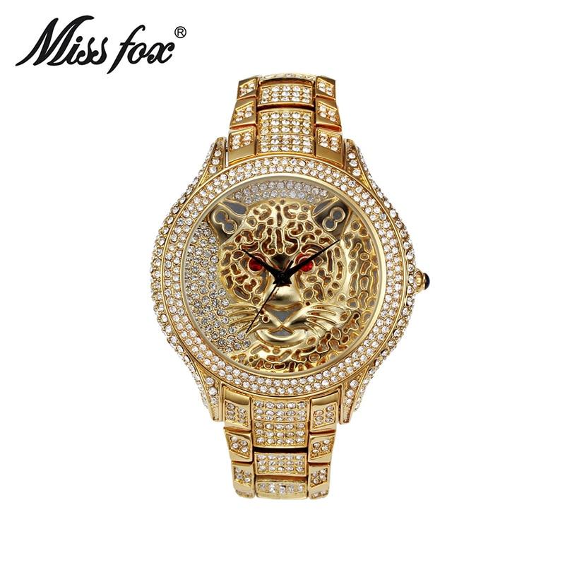 Miss Fox Luxury Brand Womens Watch Full Diamond Rhinestone Tiger Stainless Steel Womens Wristwatches Waterproof Relogio Feminino