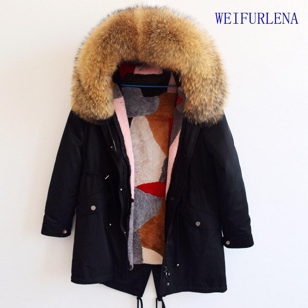90 CM manteau de fourrure véritable parkas veste d'hiver manteau femmes parka grand vrai col de fourrure de raton laveur naturel doublure de fourrure de renard long vêtements d'extérieur