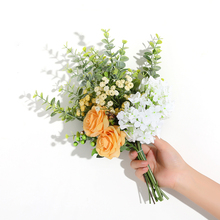 Xuanxiaotong Handmade Eucalyptus+Roses+Berries Artificial Flower Bundle for Wedding Decoration Fake Bridal Hand Flowers flores