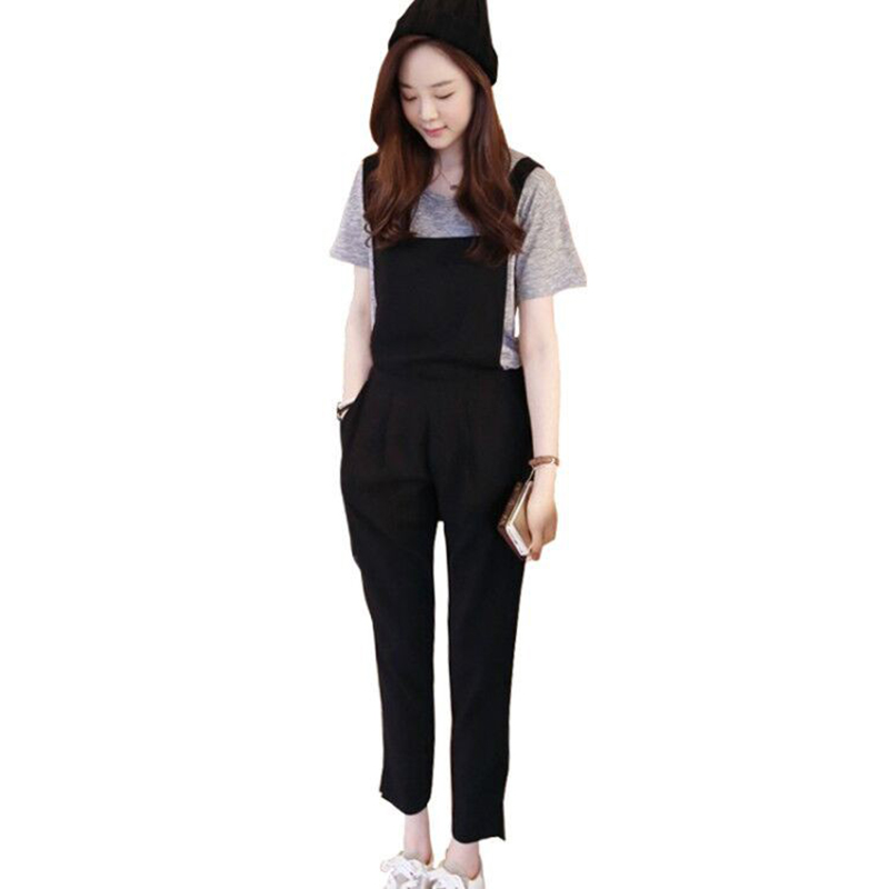 Summer Women Clothing Korean Version Casual Ankle Length Pants Strap Jumpsuit  Solid Black Plus Size Female Jumpsuit