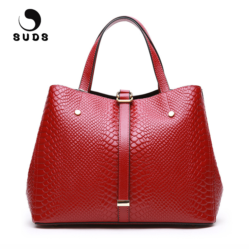 SUDS Brand Women Genuine Leather Handbag Female Fashion Serpentine Crossbody Messenger Bag Designer High Quality Travel Tote Bag 100% genuine leather women bags luxury serpentine real leather women handbag new fashion messenger shoulder bag female totes 3