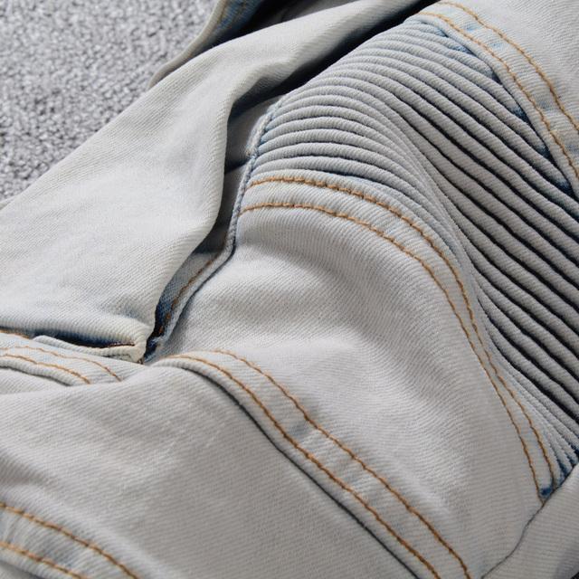 Sokotoo Men's summer pale blue pockets cargo biker shorts for moto Plus size knee length stretch denim slim jeans