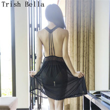 Lace transparent stripe halter Hollow out Beautiful back Pajamas sexy lingerie erotic underwear lenceria langerie babydoll