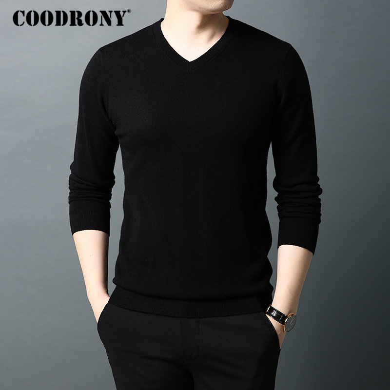 COODRONY Brand Sweater Men Classic Casual V-Neck Pullover Men Pure Color Knitwear Pull Homme Autumn Winter Woolen Sweaters 91064