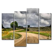 4 Panels Framed Beautiful rural road Painting Canvas Wall Art Picture Home Decoration Living Room Print Modern