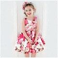 Цветок Детские Девушки Одеваются Марка Летняя Мода Детская Одежда 2-7 Лет Дети Платье Для Девочек Одежда Для маленькие Девочки