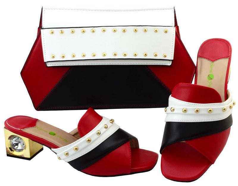 Удивительный Красный женские босоножки Вечерние обувь и сумки набор YM002, высота каблука 5,8 см