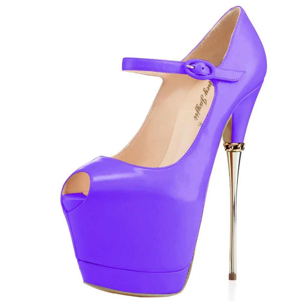 b98a72f8629 ... Pink Black Dancer Women Shoes Pumps Mary Janes Ladies Buckle Platform  Super High Heels 17CM Night ...