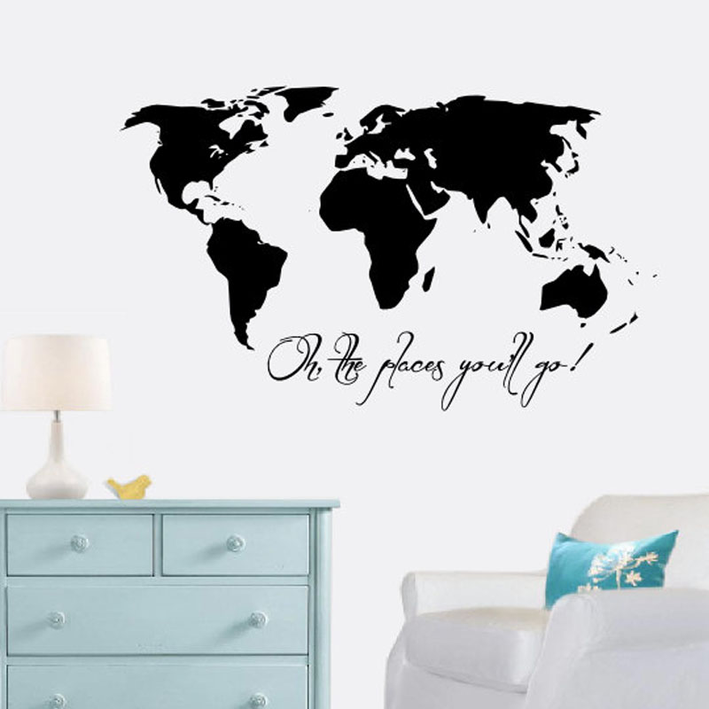 Buckoo wall stickers oh the places youll go vinyl art wall stickers buckoo wall stickers oh the places youll go vinyl art wall stickers world map living room home decor removable diy wall decals in wall stickers from home gumiabroncs Images