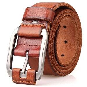 Image 4 - מעצב חגורת גברים יוקרה 100% אמיתי מלא תבואה עבה עור פרה עור אמיתי בציר 3.8cm ספורט גברי גודל גדול רך חגורת 150