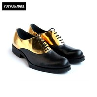 Patchwork Panelled Party Formal Shoes Men High Quality Handmade Round Toe Lace Up Leather Shoes Sapato Masculino Social Gold