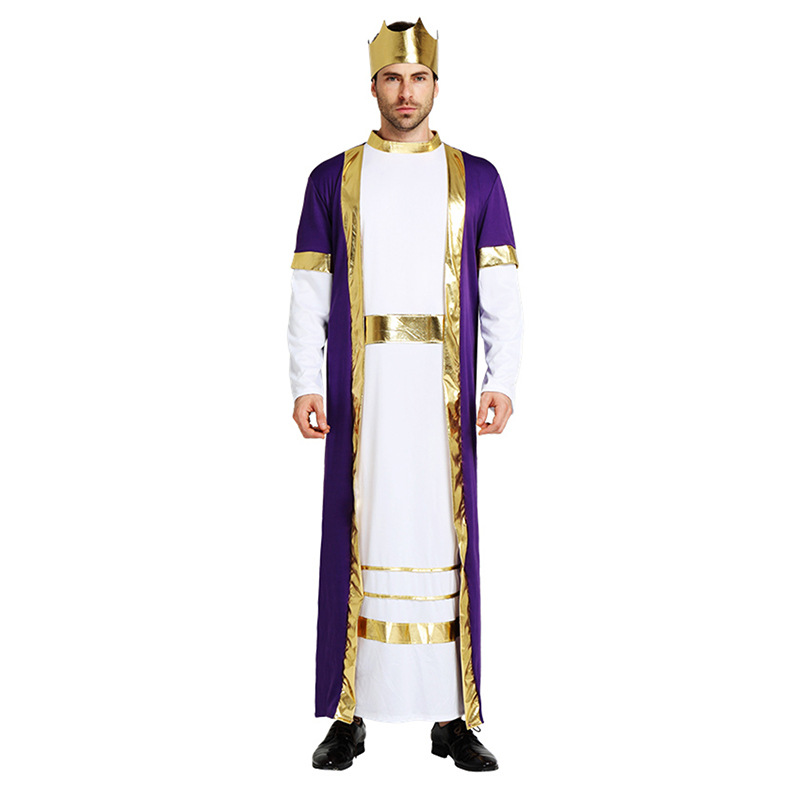 Halloween costume Christmas carnaval kigurumi Roman emperor prince Caesar party stage cosplay costume Arabian king robe image
