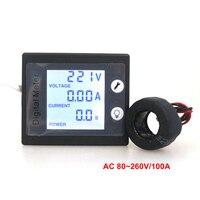 AC 80-260 V 100A Numérique LCD AC Tension Courant Détecteur avec Volt Ampère Watt/Compteur D'énergie Jauge avec STN Rétro-Éclairage
