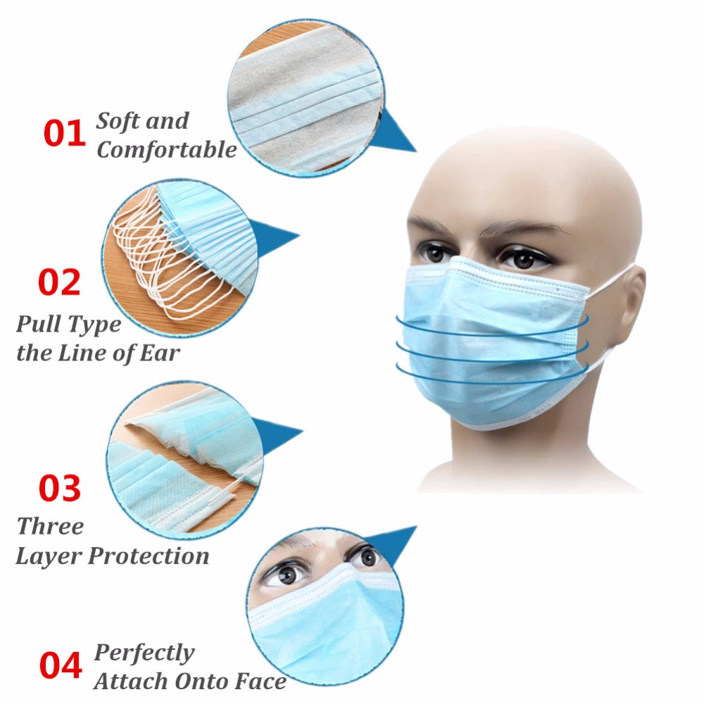 50 49 Ply 99 Procedure Fabric Disposable Woven Aliexpress zwzcyz Dust Us Pcs Non Mask Blue - masks 3 Surgical Face