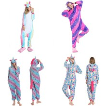 Kigurumi Pajamas Adult Unicorn Onesie Women Pyjamas Pijama Unicornio Winter Sleepwear Onepiece Night Suits 2019