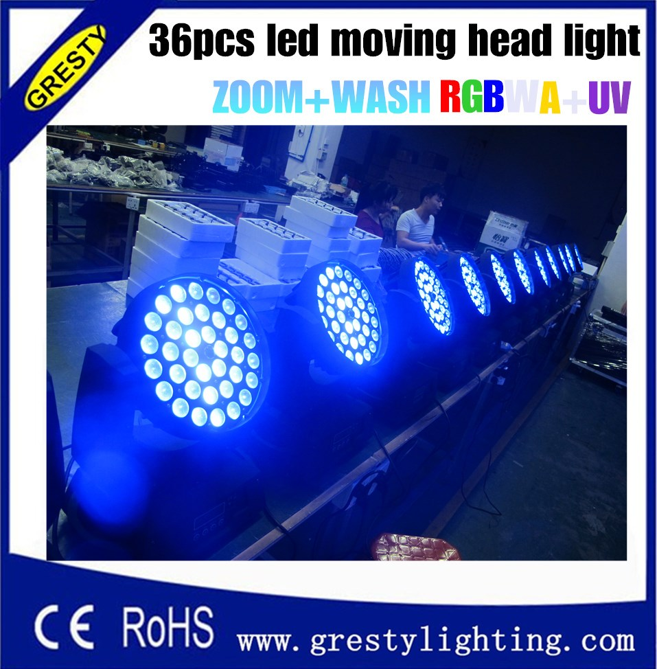 36pcs 18w rgbwa + uv membawa lampu kepala pancang cahaya kepala bergerak bergerak